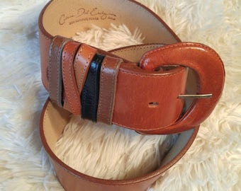Catherine Dial Easley Brown Leather Wide Cinch 5 Loop Belt - Size M Medium - 1970's / 1980's - Shipping Included