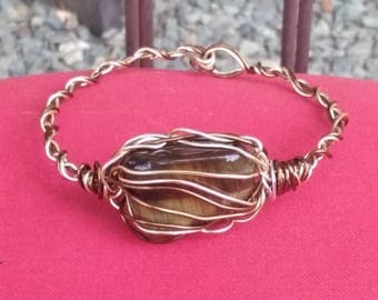 Wire Jewelry, Bracelet, Handmade- Tiger's Eye Stone,  Vintage Bronze and Rose Gold Wire Design, Bracelet.