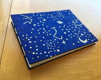 Star Map Sketchbook // Handmade Notebook // Coptic Stitch Sketchbook // Hardcover Journal // Blue and Gold // Unique Gift Under 10