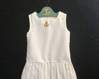 Vintage Young Girls Sailor Dress, White Drop Waist Dress, Pleated Dress, Sleeveless Summer Dress Size 5-6