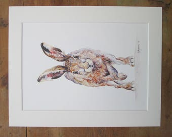 """Hare  watercolour print. Printed directly onto watercolour paper. In a  14"""" x 11"""" mount."""