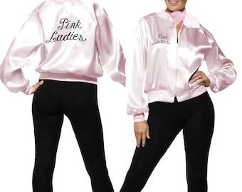 Ladies Woman's Pink Ladies Grease Jacket 1950's Fancy Dress Size 6 8 10 12 14