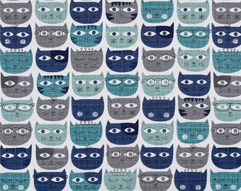 Sassy Cats Blue by Michael Miller Fabrics, Cat Lady, Cat Lover