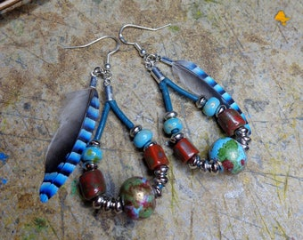 Earrings hippie/Bohemian, leather, painted terracotta trerre, feathers, Czech glass, 925 Silver hooks.