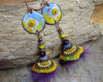 Earrings Bohemian chic/pop, purple and yellow, copper enamel, Lampwork Glass, Czech glass, faux fur, metal
