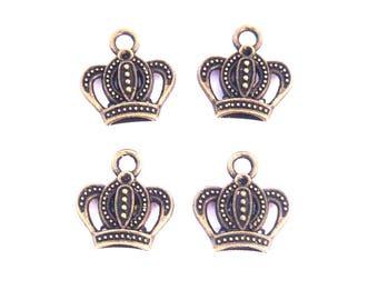 LOT 4 Crown King Queen Princess Kings 15mm bronze brass jewelry