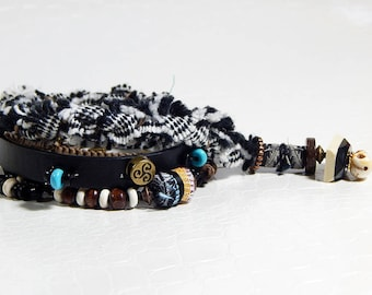 Pirate wrap bracelet leather and beads
