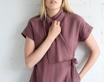Linen Dress Motumo – 17S19 / Handmade linen summer dress with mini sleeves and belt / Washed linen dress