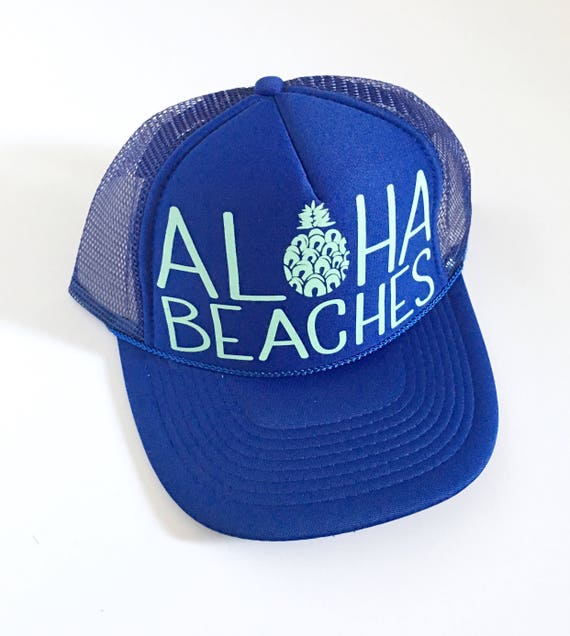 Aloha Beaches Royale | Aloha Trucker Hat| Aloha Hat| Trucker Hat| Hawaii Hat| Pineapple Hat| Pineapple| Beach Hat| Blue Hat