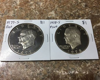 1977 and 1978 Proof Eisenhower Dollars