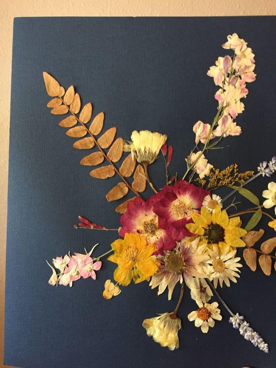 Real Flower Bouqet Art- Pressed Flower Herbarium Art - Navy & Flower Botanical Art - Flower Gift- Vintage Botanical - Framed Botany Art