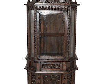 Extraordinary Antique French Gothic Display Cabinet, Walnut, Late 19th Century #7402