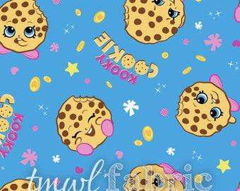 Knit Fabric - Moose Shopkins Kooky Cookie Toss Knit - Fat Quarter Yard +