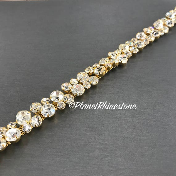 Gold Thin Bridal Rhinestone Trim #0136