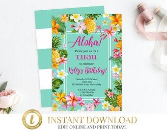 INSTANT DOWNLOAD Luau Invitation, Luau Birthday, Luau Party, Hawaiian Invitation, Birthday Invitation, Hawaiian Party, Hawaiian Birthday
