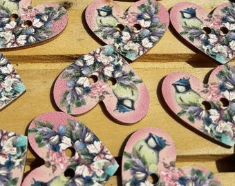 Bird buttons, buttons, heart buttons, christmas buttons, 2 hole buttons, scrapbooking buttons, lot buttons, wooden buttons, scrapbook
