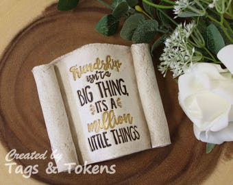 Friendship Gift Scroll. Scroll ornament gift for a friend. Friendship isn't a big thing, it's a million little things. Clay ornament
