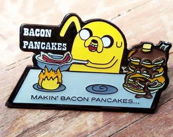 Makin Bacon Pancakes Adventure Time Hat Pin, Finn and Jake, Bacon Pancakes, Festival Pins, Rave Pins, Heady Pins, EDM Pins, Enamel Pins