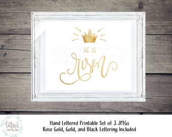 He Is Risen Printable, He is Risen, Hand Lettered, JPG, Easter Printable, Easter Decor, Christian Easter Decor