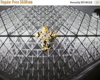 ON SALE Vintage Gold Tone Mechanical Colorful Rhinestones Clown Pin 102616