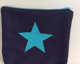 Turquoise star makeup purse, bright turquoise zip purse, star wash bag,Denim  wash bag,makeup bag,pencil case, turquoise star denim zip bag