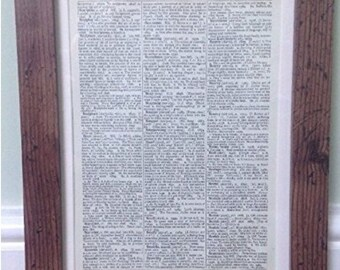 Walnut Dark Brown Wood Picture Frame With Mount To Fit Vintage Dictionary Prints