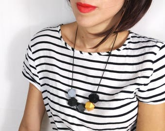 Statement Necklace - Grey, Gold & Black | Geometric Necklace | Gift for her | Geometric Jewellery | Beaded necklace | Minimalist necklace