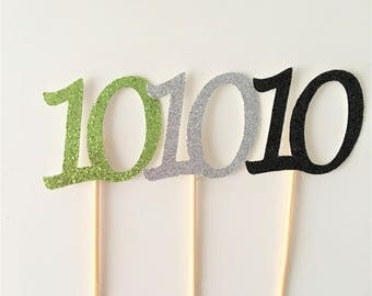 Cupcake Number Toppers, 10th Birthday Numbers, Tenth Anniversary, Set of 10 toppers, Party Decoration, Glitter Picks, Party Accessories