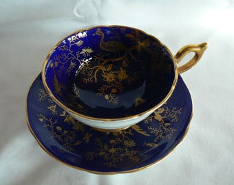 Coalport Cairo cobalt blue with gold teacup and saucer