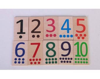 Dominoes with numbers small - Learning Toy - Montessori toddler toy - Toddler birthday gift - Wooden toy - Educational toy