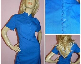 15% off Vintage 60s ELECTRIC BLUE Mandarin collar MOD Scooter dress 16 L 1960s Modette