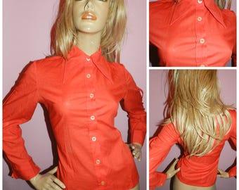 Vintage 60s 70s Red DAGGER COLLAR Secretary shirt Blouse 12 M 1960s 1970s