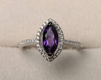 Purple amethyst ring, marquise cut, engagement, silver, February birthstone