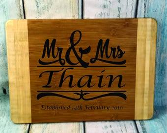 No. 24 Chopping / Bread Board - Engraved Wedding Gift - Bride And Grooms Names - Mr And Mrs-Personalised 350mm X 250mm Two Tone Bamboo