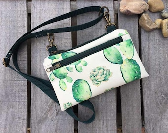 Waterproof Cactus Fanny Pack, Green Mini Crossbody Bag, Festival Bag, Boho Bag, Cactus Bum Bag, Vegan Belly Bag, Waterproof Bag, Gift idea