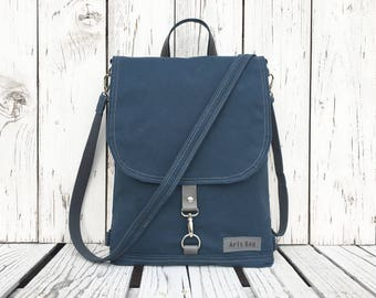 "Minimalist Waxed Canvas Backpack, Denim Blue Water Repellent Rucksack, Vegan Functional Crossbody Bag, 11"" Macbook Backpack, Minimalist Bag"
