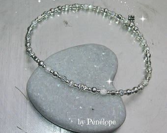 Bracelet mix of beads 3 mm silver 925th