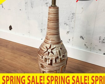 Spring Sale! Vintage Atomic Themed Mid-Century Modern MCM Tiki Table Lamp