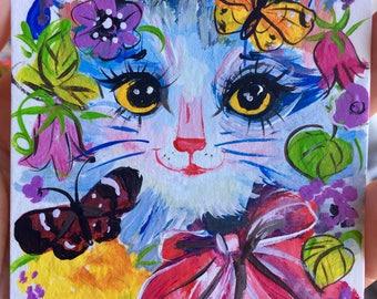 Aceo original acrylic painting Cat art mini painting