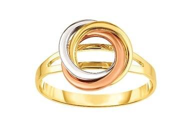 14kt Rose+Yellow+White Gold Shiny Loveknot Ring Size7