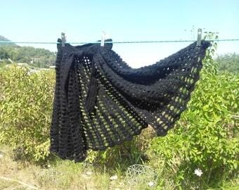 Black shawl Cape crochet fancy stitches
