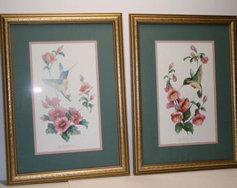 Pair of hummingbird prints; limited edition; large, framed prints; Carolyn Shores Wright 1993; signed & numbered