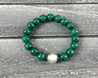 Unisex Natural Malachite & Sterling Silver Elastic Bracelet with Hematite Rondelles