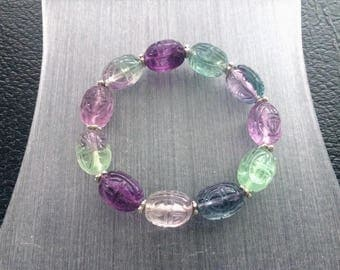 Vintage Natural Rainbow Fluorite Carved Chinese Shou Longevity Symbol Elastic Beaded Bracelet with Sterling Silver Spacer Beads