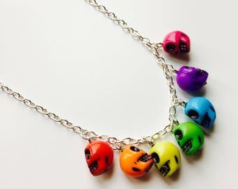 Sugar Skull | Candy Skull | Skull |  Rainbow | Day Of The Dead | Emo | Gothic | Alternative | Necklace
