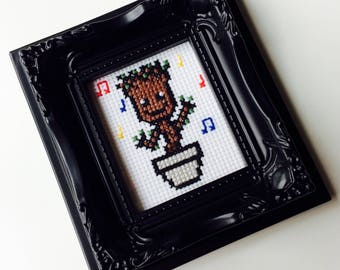 Groot | I Am Groot | Baby Groot | Guardians Of The Galaxy | Cute | Geek | Gift | Framed | Cross Stitch