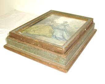 """Antique Wood Dresser Box. Victorian Dresser Box. Lithograph under glass and mirrored. Bottom is thin particle board. 10"""" by 8"""" by 2""""."""