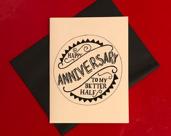 black and white hand lettered anniversary card