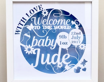 New Baby personalised framed Papercut