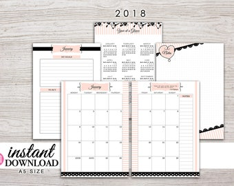 A5 Planner Printable - 2018 Monthly Planner - Filofax A5 - Kikki K Large - Design: Mademoiselle